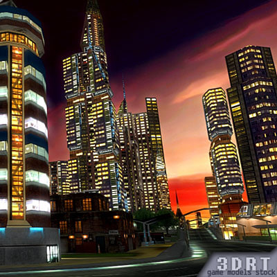 3d model urban city buildings skyscrapers