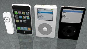 1 iphone 3 ipods c4d