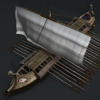 Greek ancient ship (textured)