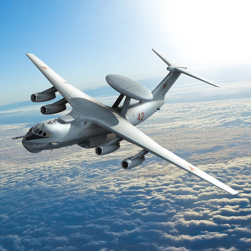 russian beriev a-50 aircraft 3d lwo