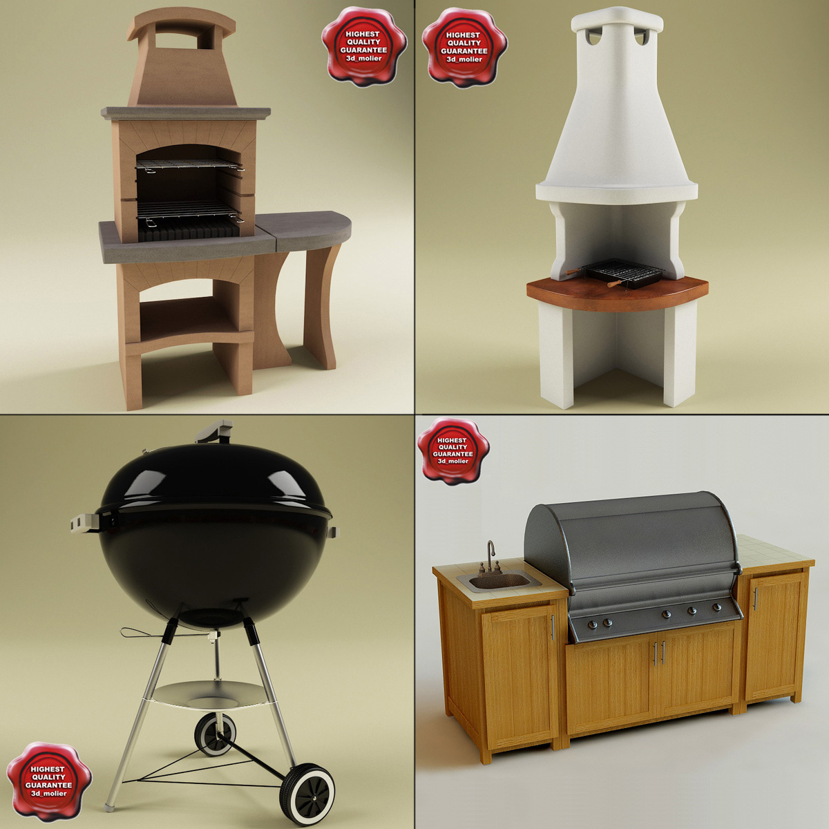 3dsmax barbecue outdoor modelled