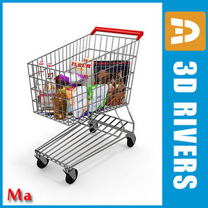 3d x metallic shopping cart v1