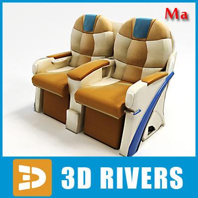 airplane business class seats 3d x