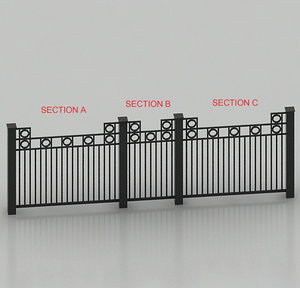 rod iron fence 3d model