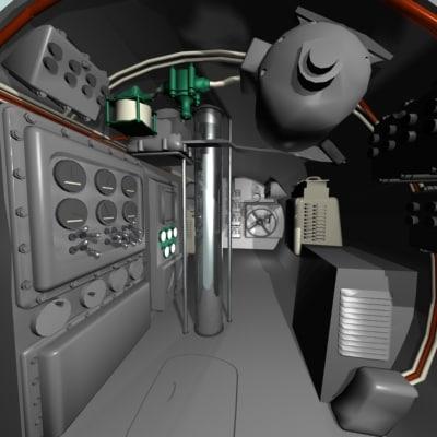 cutaway submarine 3d model