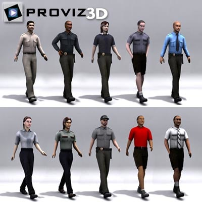 walking security people 3d max