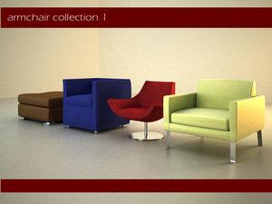 3d modern armchairs