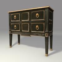 3d black gold cabinet model
