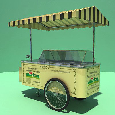 english ice-cream cart 3d model