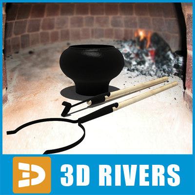 3d model pot oven fork