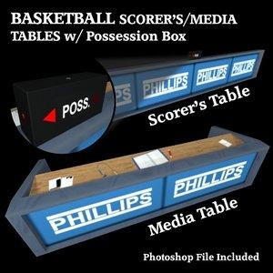 3ds basketball scorer table media