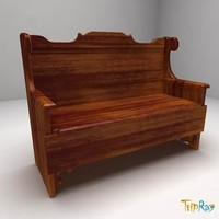 free wood bench 3d model