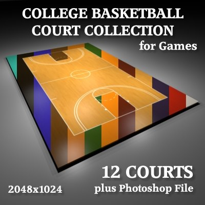 3d men college basketball courts model