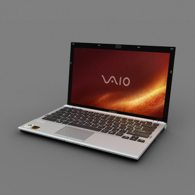 sony vaio notebook 3d model