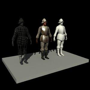 medieval pikeman armor 3d 3ds