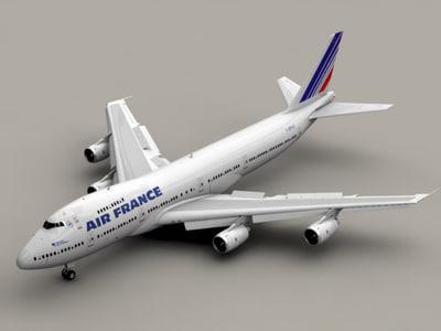 b 747-200 air france 3d model