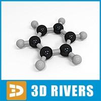 3d model benzene molecule structure