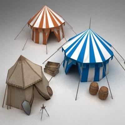 3d model medieval tents