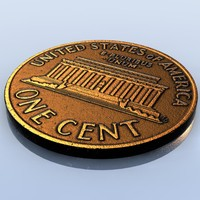 Coin US Penny 1 Cent LowPoly