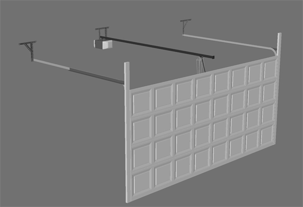 3d model double car garage door