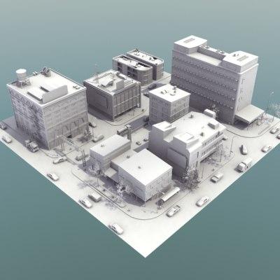 city block vehicles hd 3d model