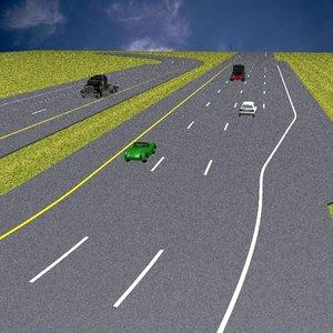 3d model basic highway set road