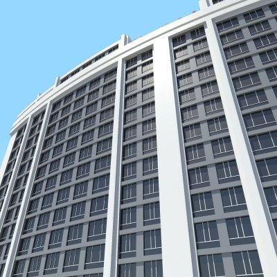 3d hotel city block construction model