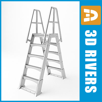 3d ladder steps rigid model