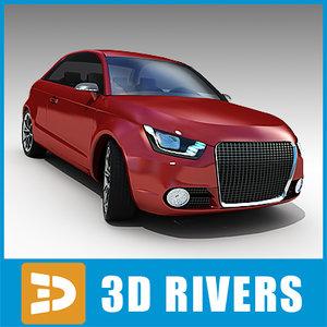 red audi a1 car 3d model