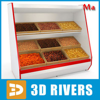 3d model inclined shelving dried fruits
