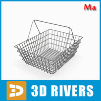 3d metallic shopping basket v1