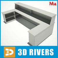 airport reception desk 3d x