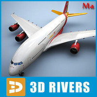 airbus a380 red orange 3d x