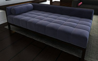plush tufted chaise lounge 3d model
