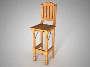 3ds max banca furniture rustic