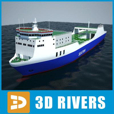 ro-ro container ship cargo 3d model