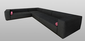 3ds max oversize leather sofa sectional