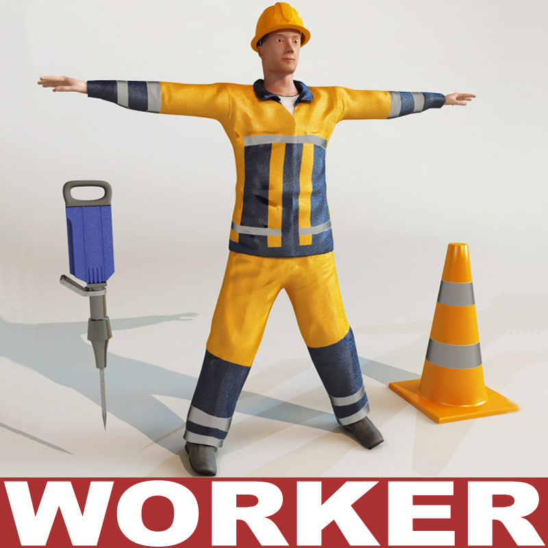 3d model worker modelled