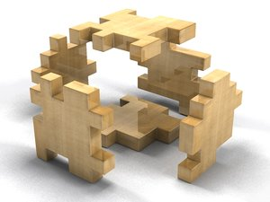 3ds max wooden puzzle cube