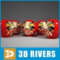 3d daruma japanese wooden model