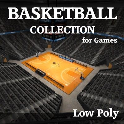 complete basketball arena 3d obj