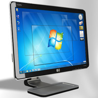 hp w2207h monitor desktop 3d model