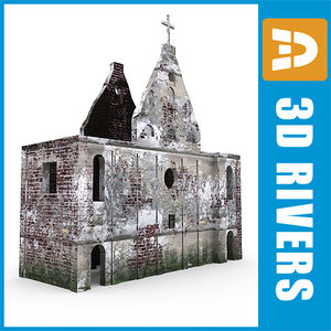 ruined catholic church building 3d model