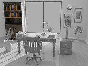 cottage bookcase door furniture 3d max