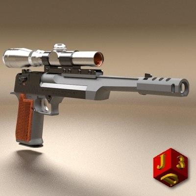 desert eagle pistol optical 3d model