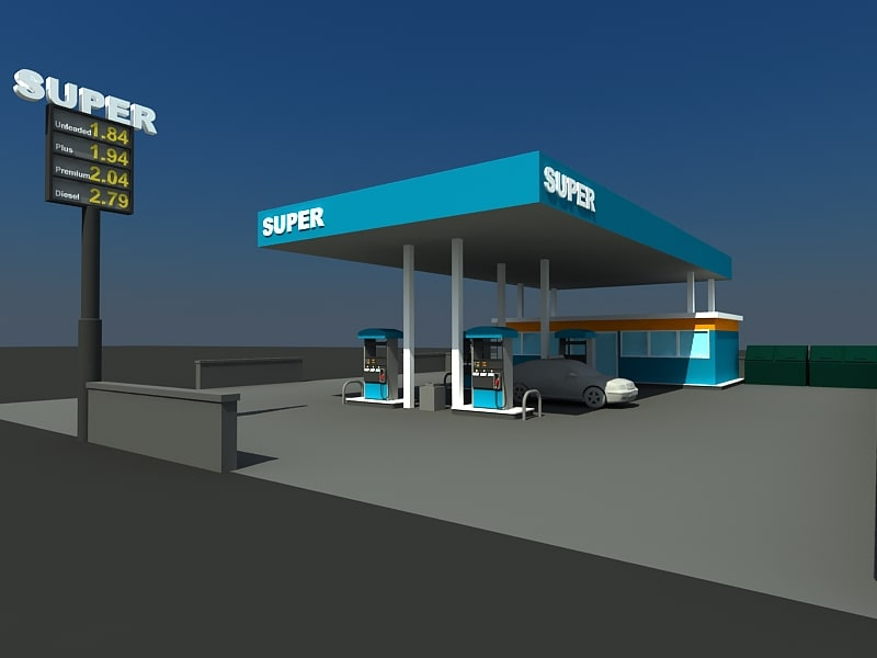 gas station zipped 3d max