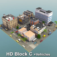 city block vehicles buildings 3d model