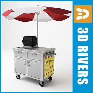 3d hot dog cart stand model