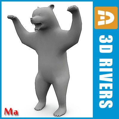 3d polygonal bear model