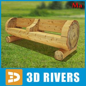 draw bench village 01 3d model